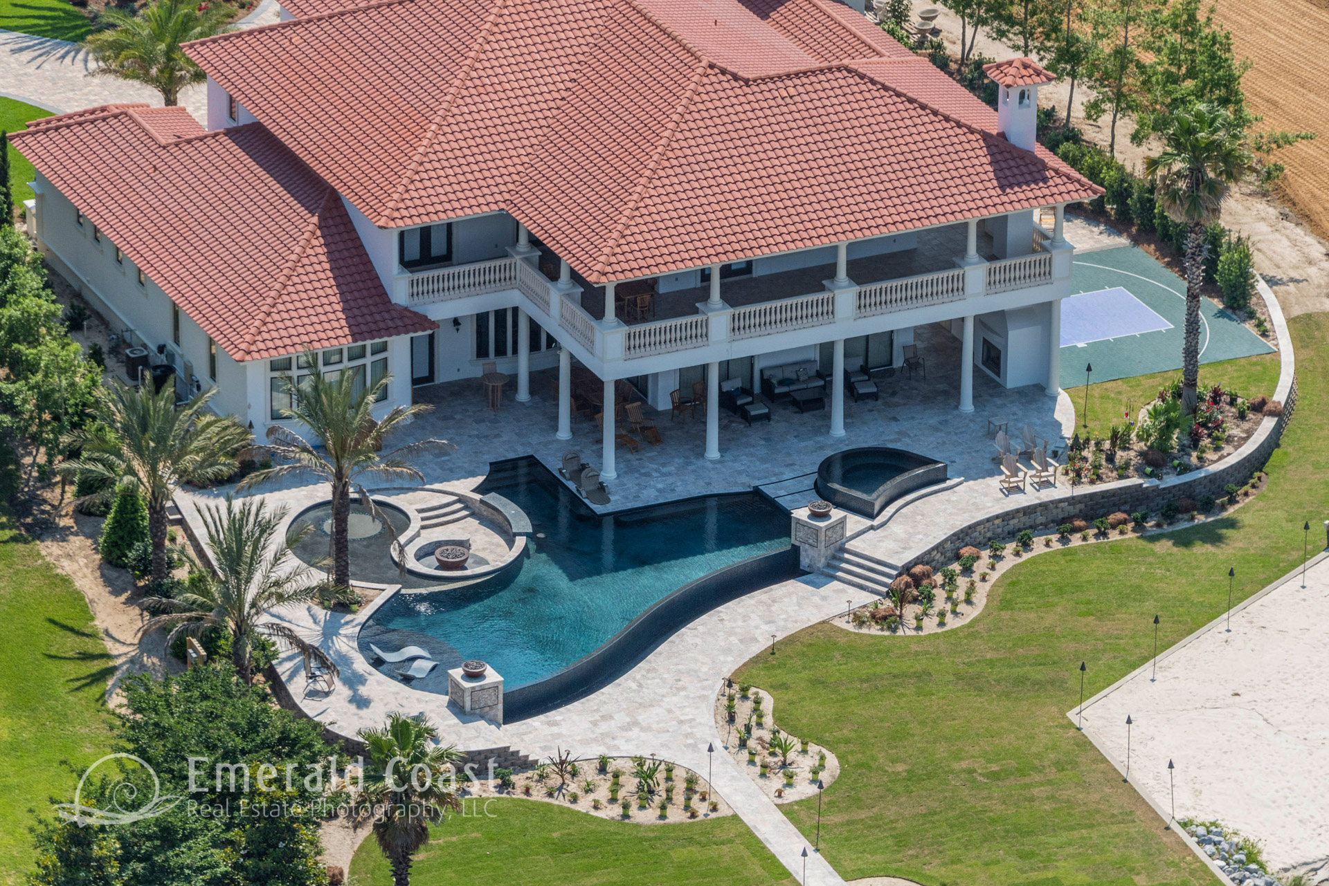 aerial photo of house with pool