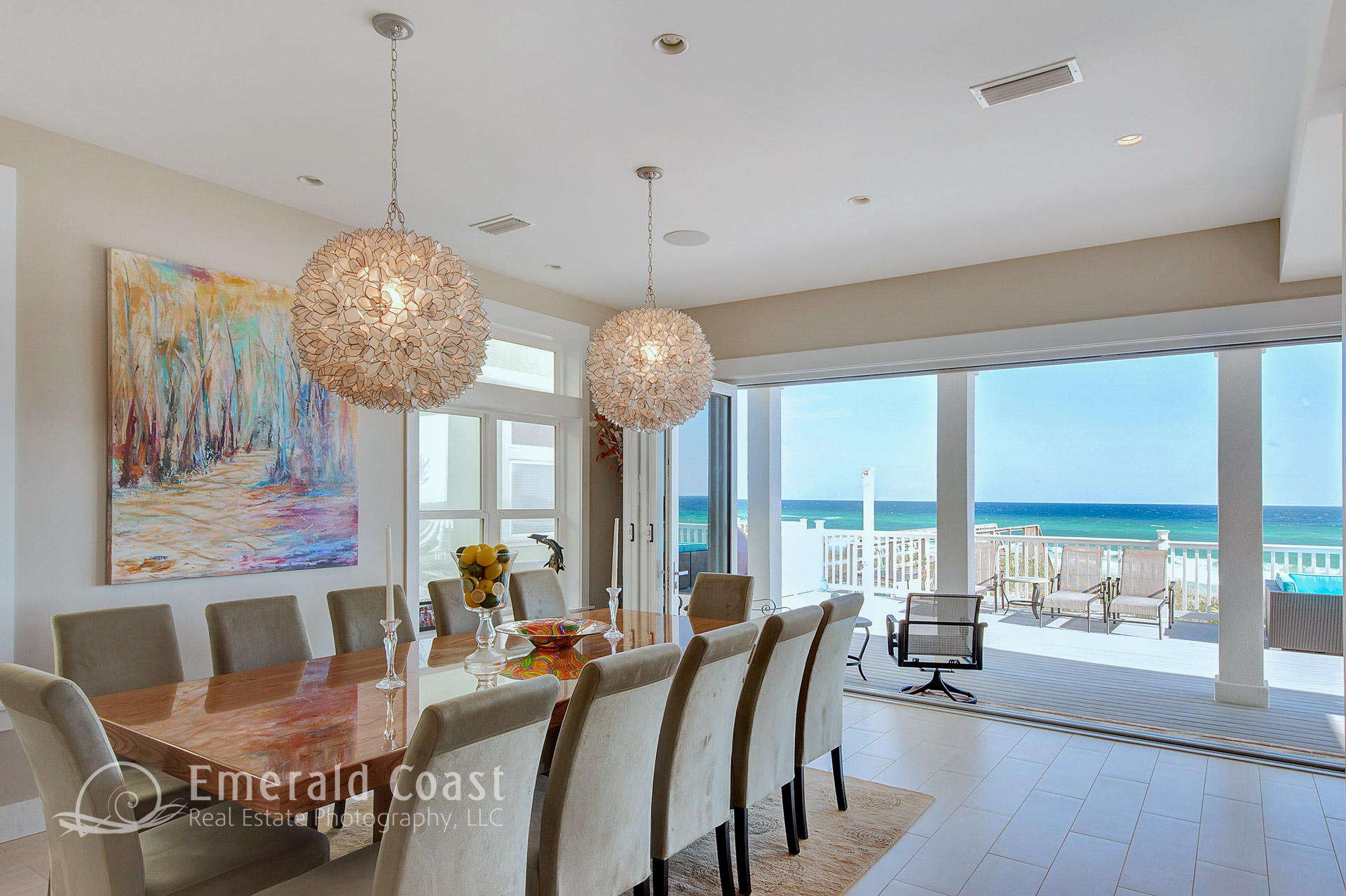 formal dining room with view of Gulf of Mexico