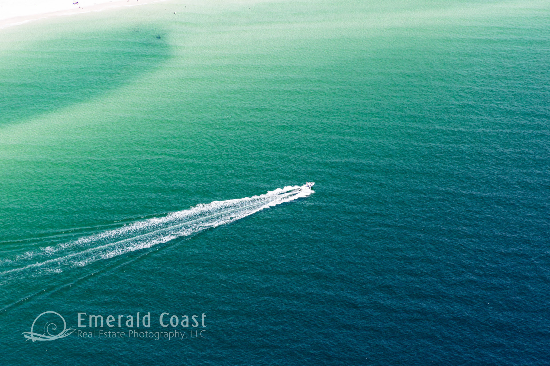 Blue Green Water, Gulf of Mexico, Boat, Aerial Photograph