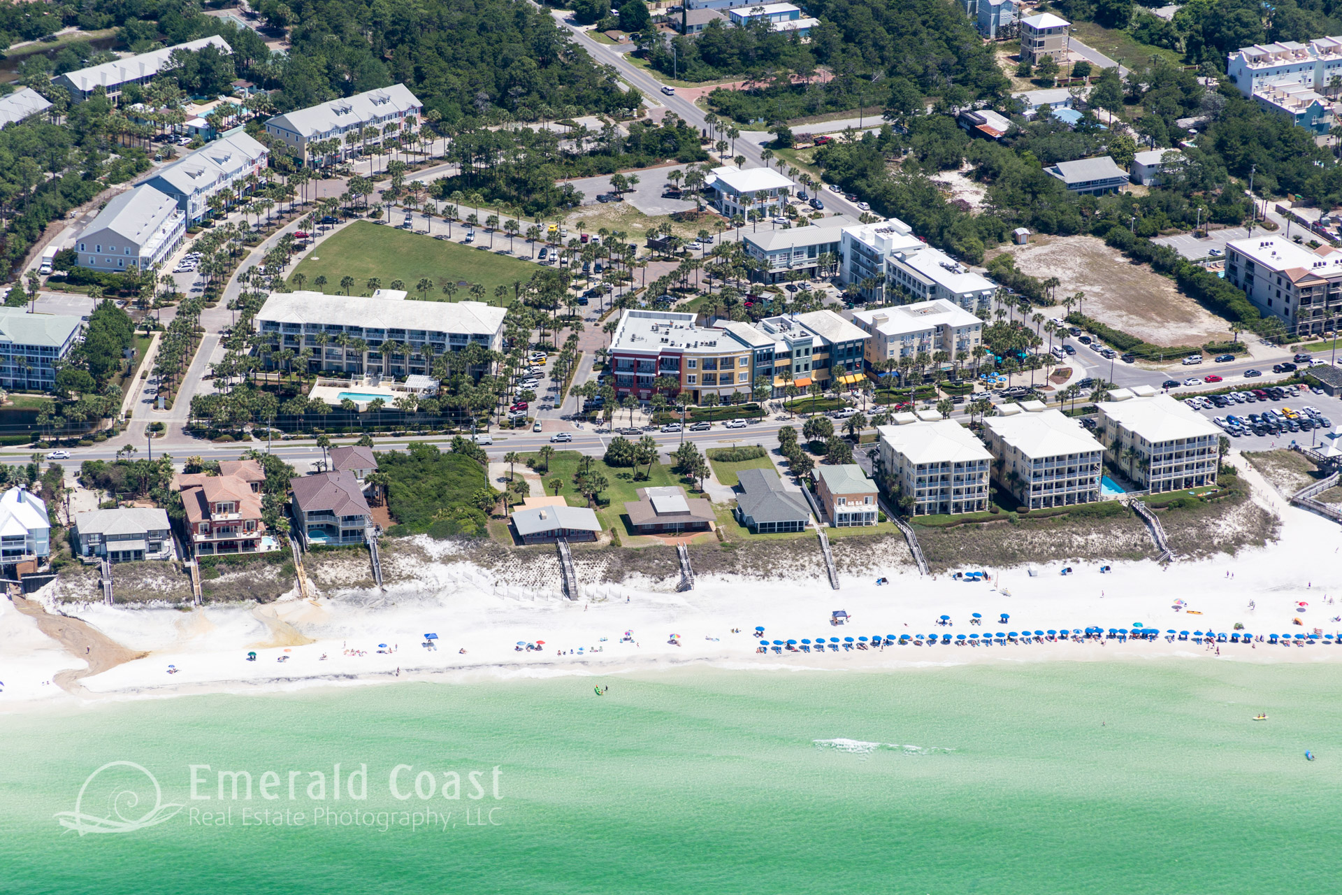 Aerial View of Gulf Place on Co Hwy 30A Santa Rosa Beach, Floirda