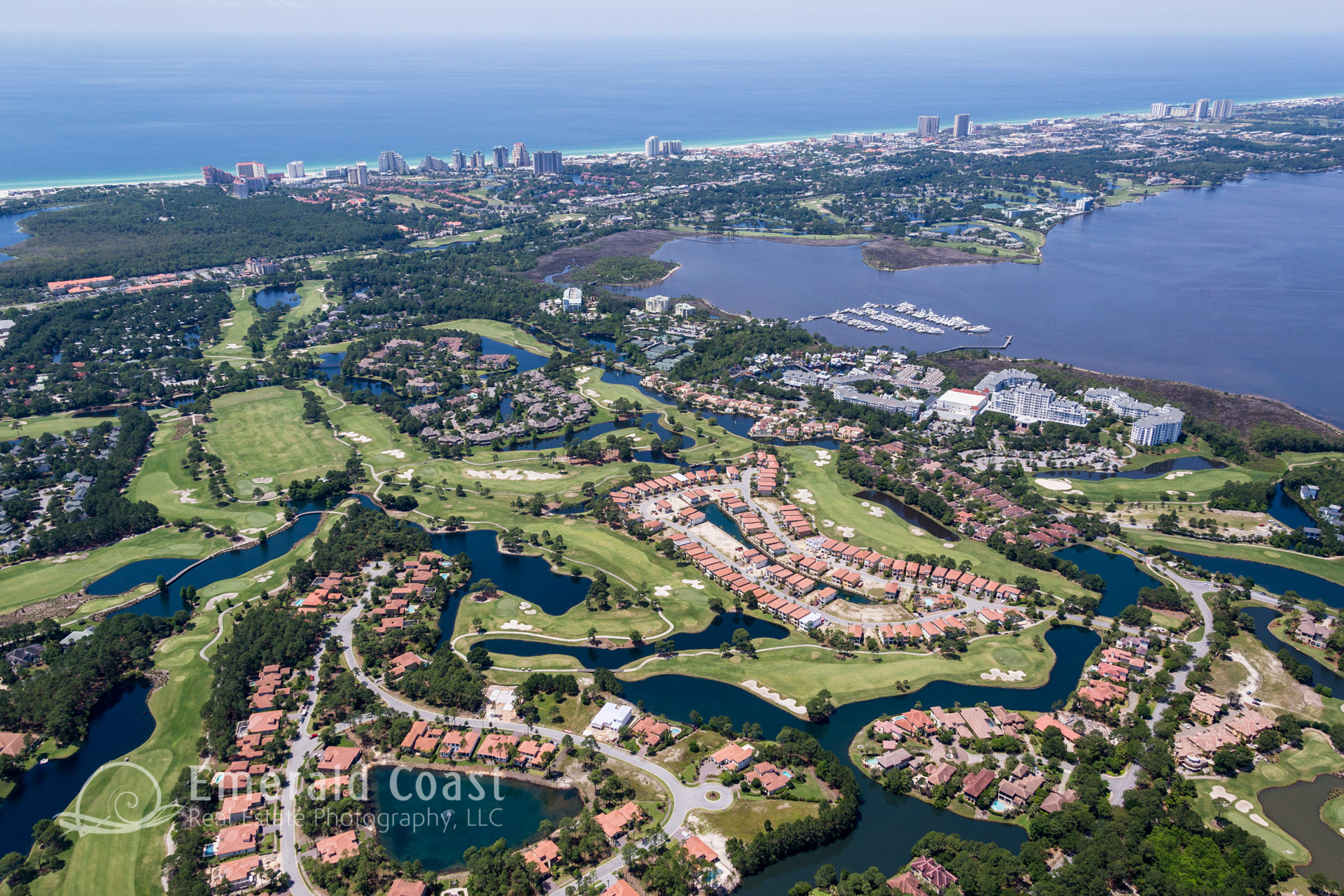 aerial view of the golf courses at the Sandestin resort