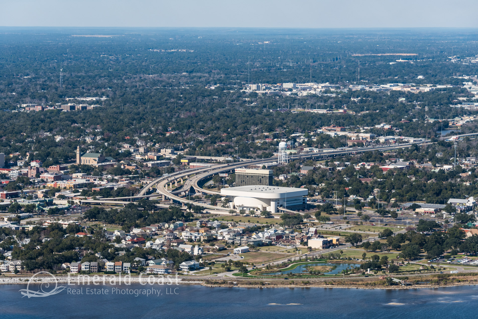 aerial view of Pensacola Bay Center