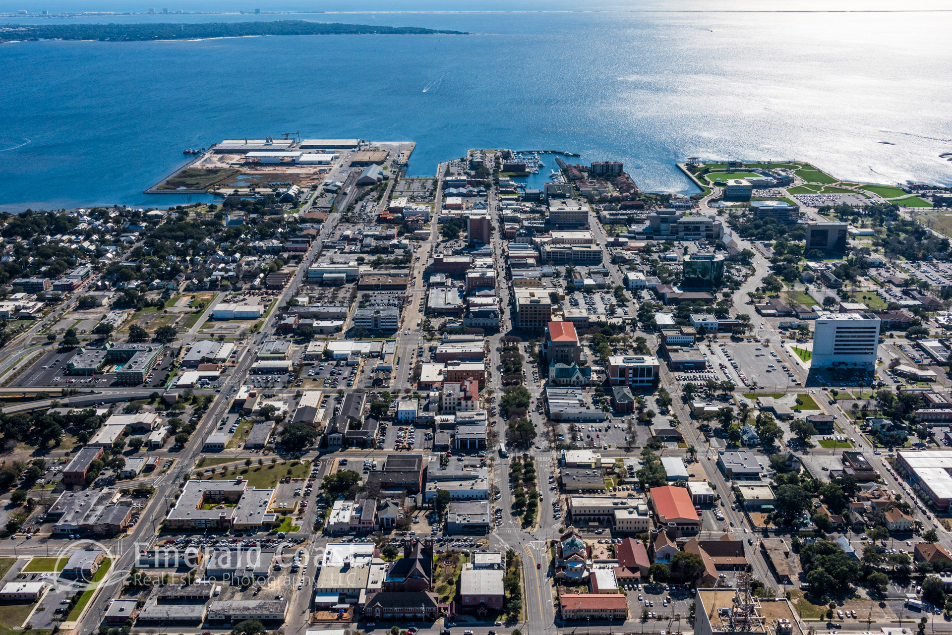 aerial photo of downtown Pensacola