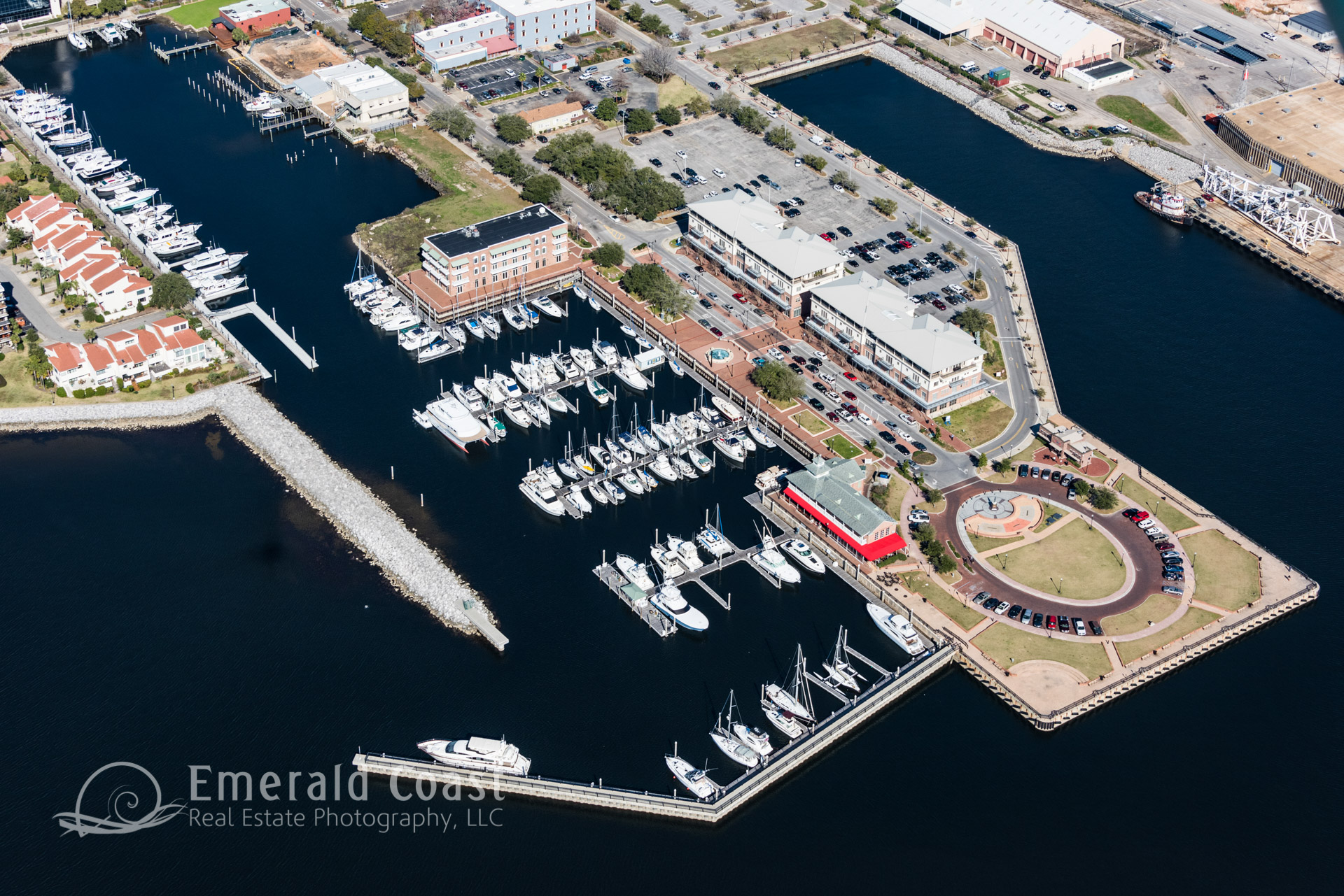 aerial photo of marina