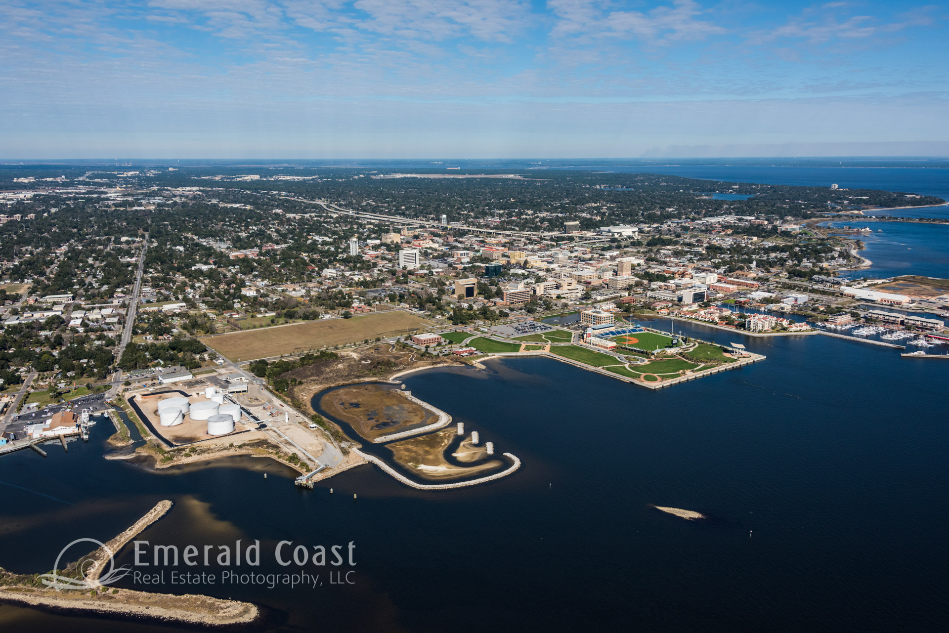 Aerial photo of the port of Pensacola