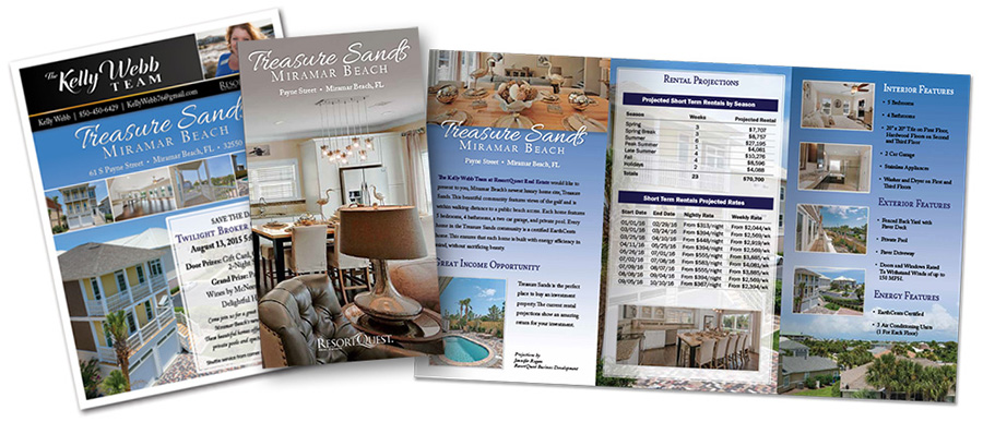 Trifold brochure and flyer design for Treasure Sands