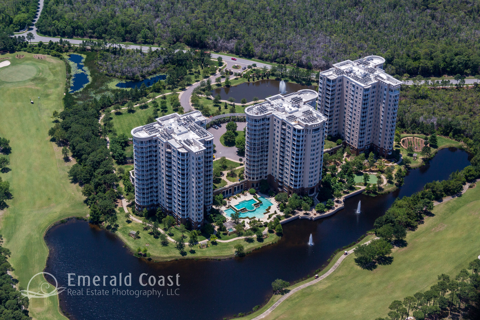 Aerial Photo of Condominiums on Golf Course Destin