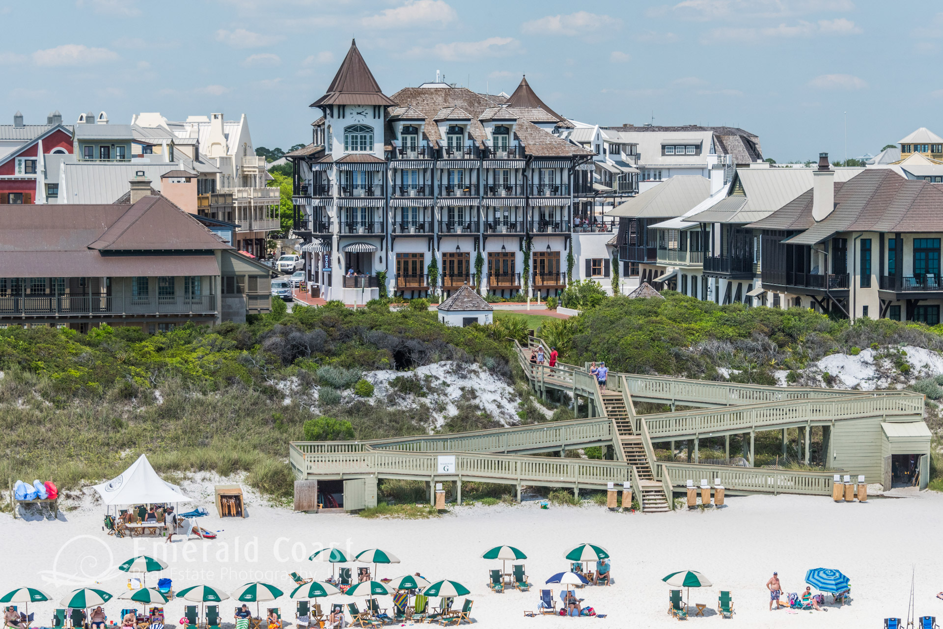 Aerial photo of Rosemary Beach, Florida with Gulf of Mexico