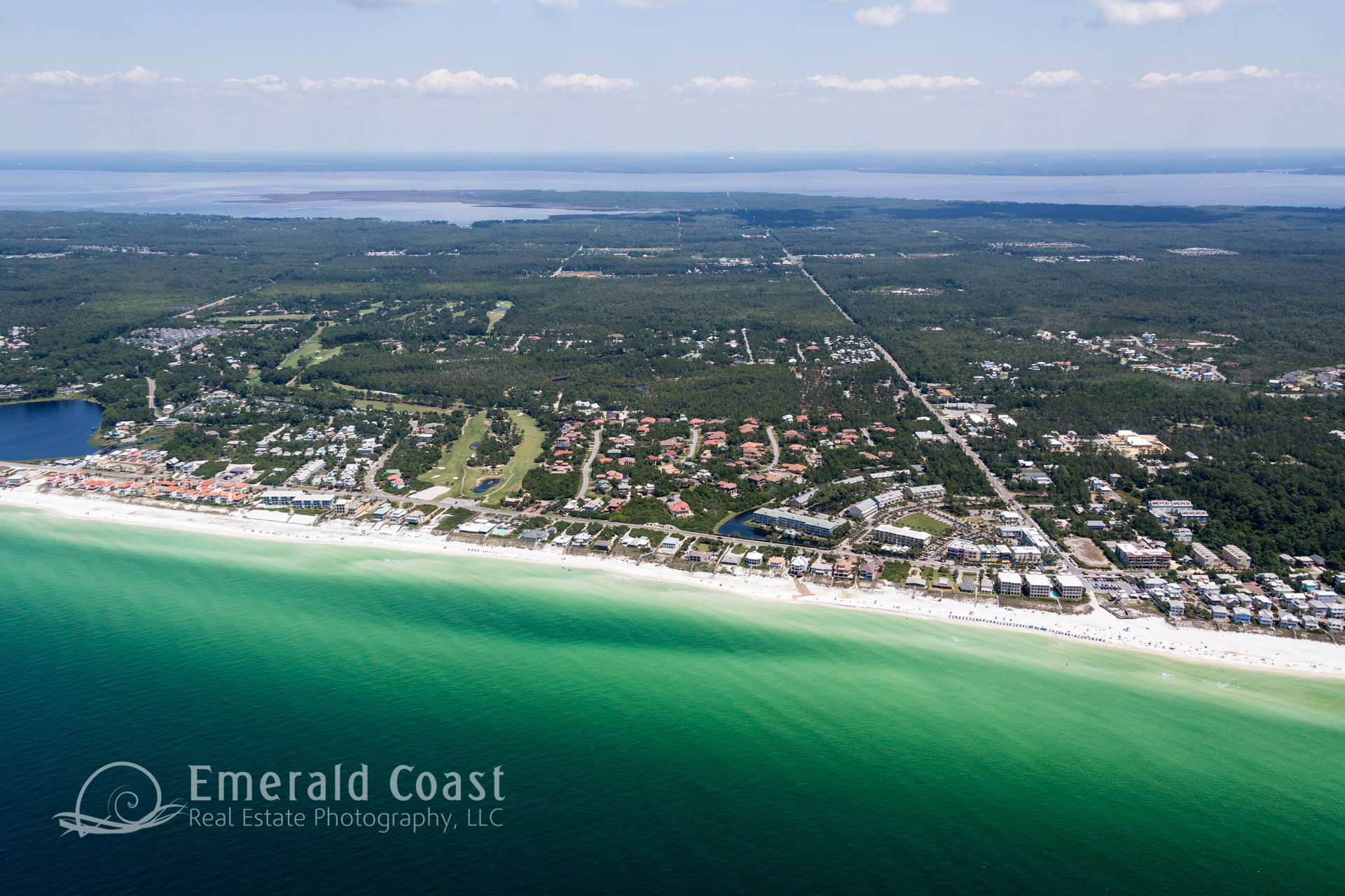 Aerial View of Co Hwy 30A with Gulf Place Santa Rosa Beach, Florida
