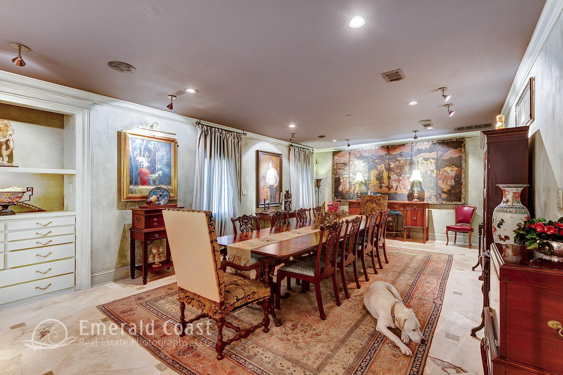formal dining room with dog