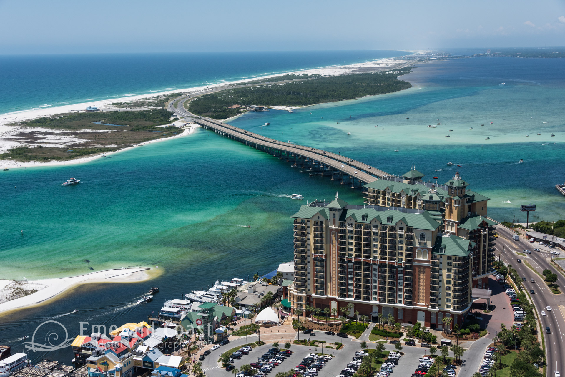 Aerial photo of the Emeral Grandes and the Destin Pass to the Gulf of Mexico