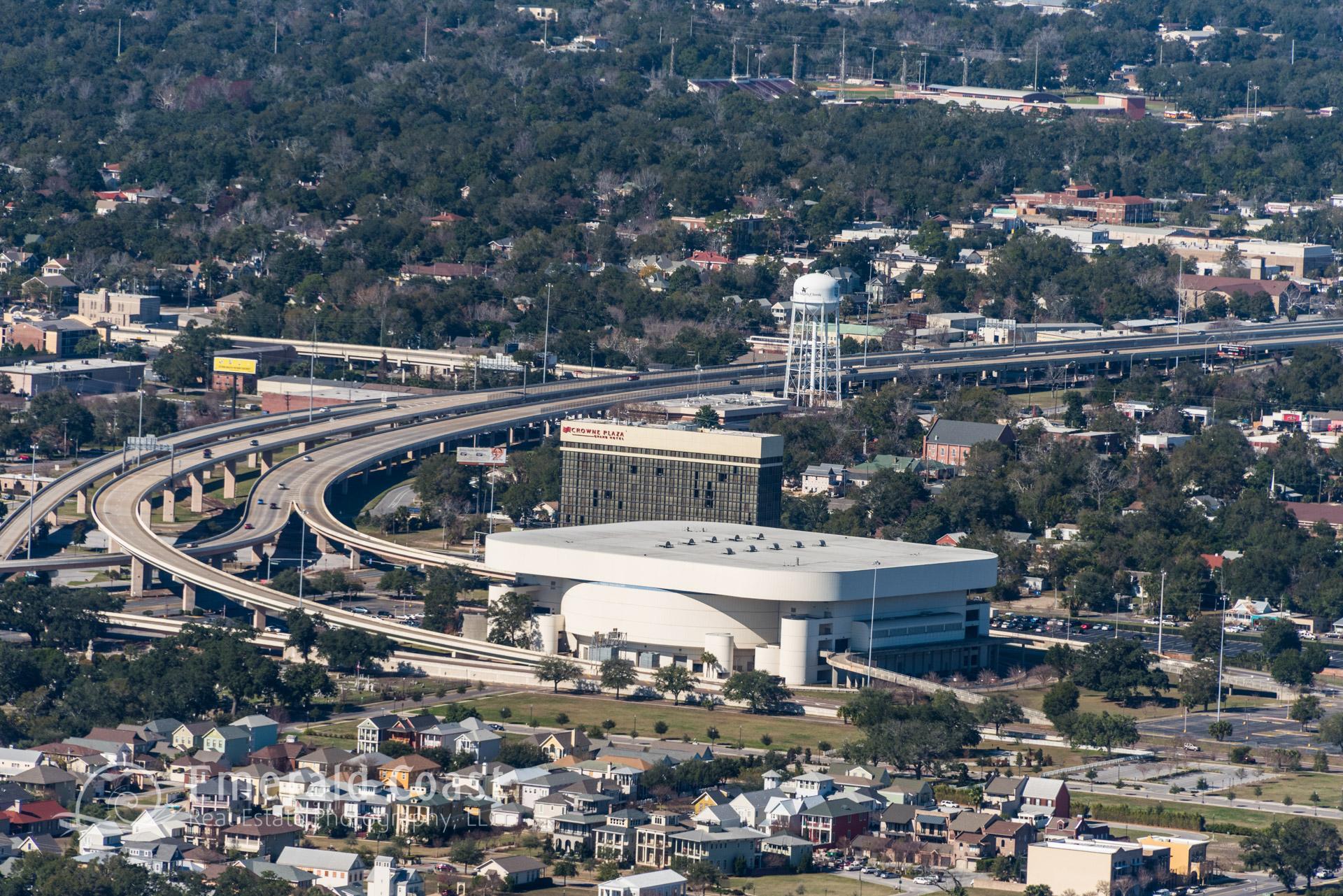 aerial photo of Pensacola Bay Center