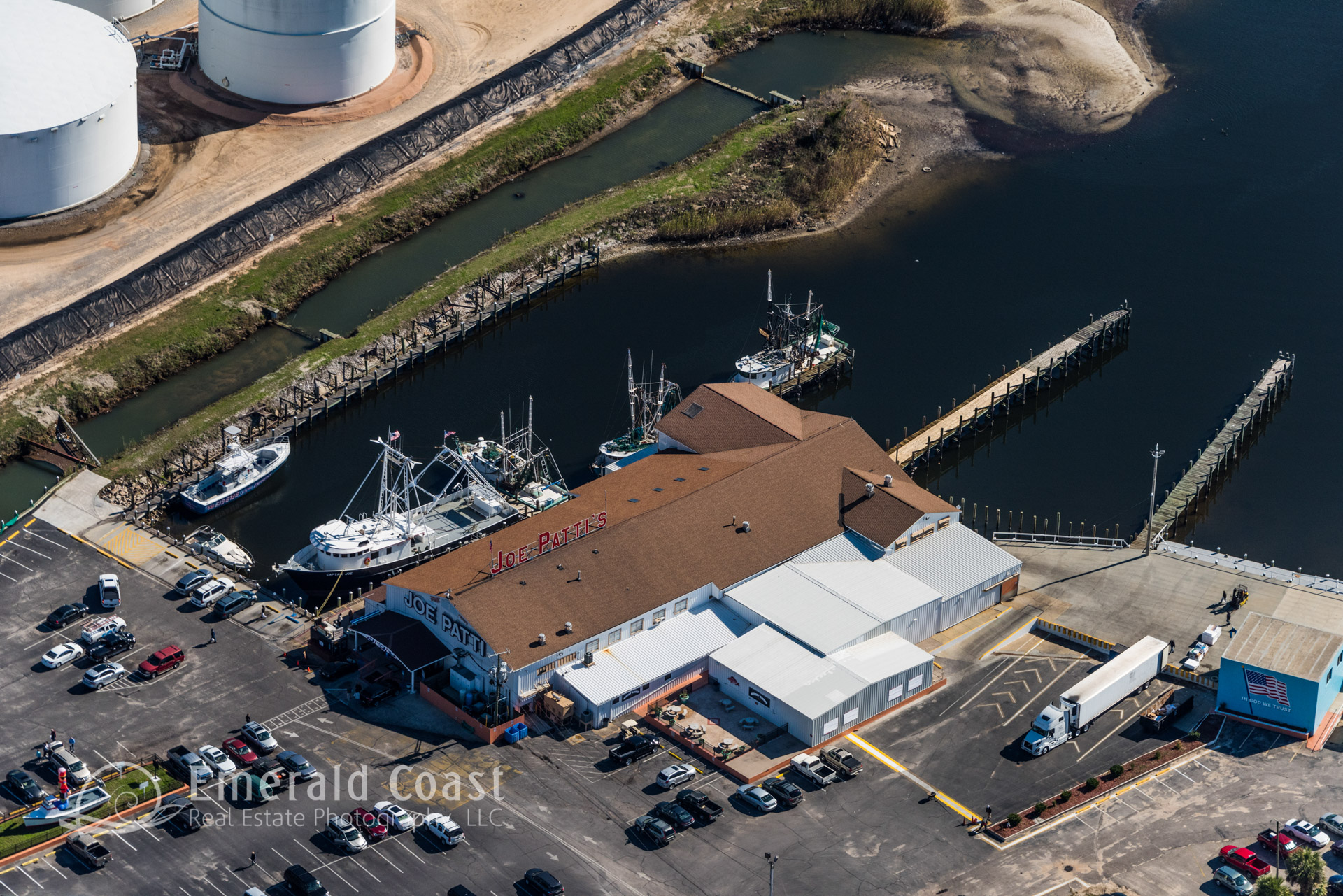 Aerial photo of the Joe Patt's Seafood